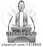 Clipart Of A Grayscale Priest Delivering A Sermon Royalty Free Vector Illustration