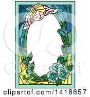 Clipart Of A Stained Glass Angel Cherub And Roses Frame Royalty Free Vector Illustration