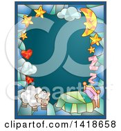 Clipart Of A Stained Glass Bedtime And Sheep Frame On Teal Royalty Free Vector Illustration