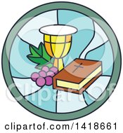 Round Stained Glass Bible Chalice And Graphes Design