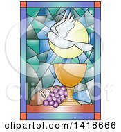 Clipart Of A Stained Glass Dove Chalice Bread And Grapes Communion Design Royalty Free Vector Illustration