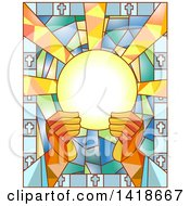 Clipart Of A Stained Glass Priest Breaking The Bread Design Royalty Free Vector Illustration by BNP Design Studio