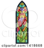 Poster, Art Print Of Stained Glass Tulip Flower Window Design