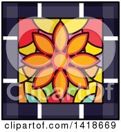 Clipart Of A Stained Glass Flower Design Royalty Free Vector Illustration by BNP Design Studio