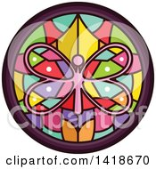 Clipart Of A Stained Glass Butterfly Design Royalty Free Vector Illustration by BNP Design Studio