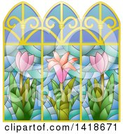 Clipart Of A Stained Glass Window Design With Flowers Royalty Free Vector Illustration by BNP Design Studio
