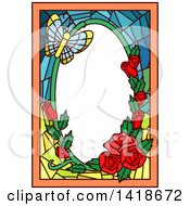 Stained Glass Butterfly And Rose Frame Design