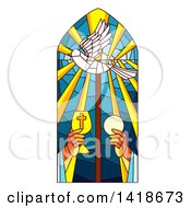 Clipart Of A Stained Glass Holy Mass Design Royalty Free Vector Illustration
