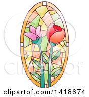 Clipart Of A Stained Glass Oval Floral Design Royalty Free Vector Illustration by BNP Design Studio