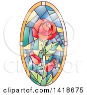Stained Glass Oval Rose Design