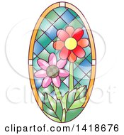 Clipart Of A Stained Glass Oval Daisy Design Royalty Free Vector Illustration by BNP Design Studio