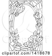 Black And White Lineart Stained Glass Border Of Roses And A Butterfly