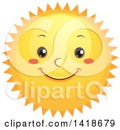 Clipart Of A Happy Sun Royalty Free Vector Illustration