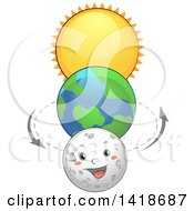 Clipart Of Planet Earth Between The Sun And Moon Character Royalty Free Vector Illustration by BNP Design Studio