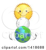 Clipart Of A Moon Between A Sun Character And Planet Earth Royalty Free Vector Illustration by BNP Design Studio