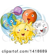 Clipart Of A Sketched Sun And Planets Of The Solar System Smiling Royalty Free Vector Illustration by BNP Design Studio