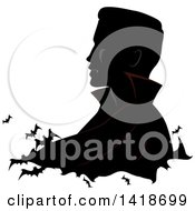 Clipart Of A Profiled Silhouette Of A Vampire With Flying Bats Royalty Free Vector Illustration