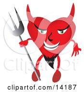 Evil Devilish Heart Character With A Goatee Holding A Pitchfork Clipart Illustration