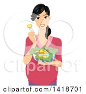 Poster, Art Print Of Happy Pregnant Woman Eating A Salad