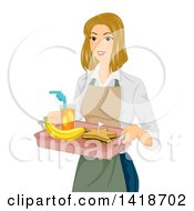 Clipart Of A Blond Caucasian Woman Serving A Star Shaped Sandwich Lunch On A Tray Royalty Free Vector Illustration by BNP Design Studio