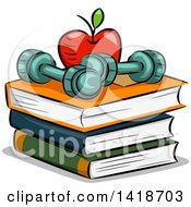 Sketched Apple And Dumbbells On Top Of Books