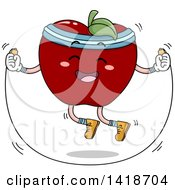 Clipart Of A Red Apple Mascot Skipping Rope Royalty Free Vector Illustration by BNP Design Studio