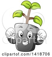 Clipart Of A Strong Seedling Plant Mascot Flexing Royalty Free Vector Illustration