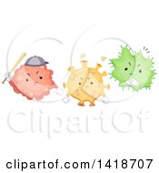 Clipart Of A Group Of Bully Viruses Royalty Free Vector Illustration