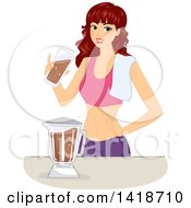Clipart Of A Brunette Caucasian Woman Making A Chocolate Protein Shake Royalty Free Vector Illustration by BNP Design Studio