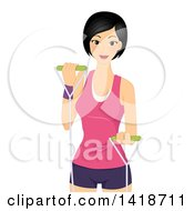 Clipart Of A Happy Woman Working Out With Resistance Bands Royalty Free Vector Illustration