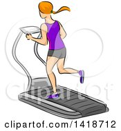 Clipart Of A Sketched Red Haired Caucasian Woman Running On A Treadmill Royalty Free Vector Illustration