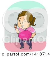 Clipart Of A Cartoon Overweight Brunette Caucasian Woman Resting During A Run Royalty Free Vector Illustration