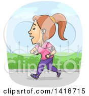 Clipart Of A Cartoon Brunette White Woman Jogging And Wearing A Tracker Royalty Free Vector Illustration by BNP Design Studio