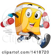 Clipart Of A Fitness Book Mascot Running With Dumbbells Royalty Free Vector Illustration