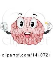 Clipart Of A Brain Mascot Taking Vitamins Royalty Free Vector Illustration