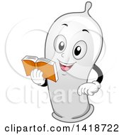 Clipart Of A Condom Mascot Reading A Book Royalty Free Vector Illustration