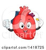 Clipart Of A Human Heart Character Taking A Vitamin Royalty Free Vector Illustration
