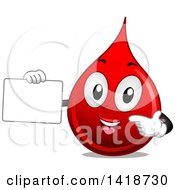 Clipart Of A Blood Drop Mascot Holding A Blank Sign Royalty Free Vector Illustration