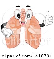 Clipart Of A Lungs Mascot Giving A Thumb Up Royalty Free Vector Illustration