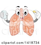Clipart Of A Lung Mascot Taking A Vitamin Royalty Free Vector Illustration
