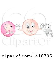 Clipart Of A Contraceptive Pill Mascot Between An Egg Cell And Sperm Royalty Free Vector Illustration