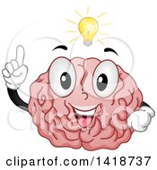 Clipart Of A Brain Mascot With An Idea Royalty Free Vector Illustration