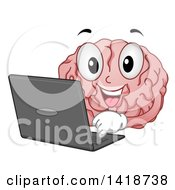 Clipart Of A Brain Mascot Using A Laptop Computer Royalty Free Vector Illustration