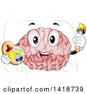 Clipart Of A Brain Mascot Artist Holding A Palette And Paintbrush Royalty Free Vector Illustration