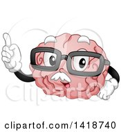 Clipart Of A Cartoon Old Brain Mascot Holding Up A Finger And Wearing Glasses Royalty Free Vector Illustration
