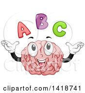 Clipart Of A Brain Mascot With Abc Alphabet Letters Royalty Free Vector Illustration