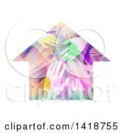Clipart Of A House Made Of Colorful Hands Royalty Free Vector Illustration by BNP Design Studio