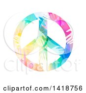 Clipart Of A Peace Symbol Made Of Colorful Hands Royalty Free Vector Illustration by BNP Design Studio