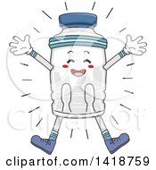Clipart Of A Water Bottle Mascot Jumping Royalty Free Vector Illustration by BNP Design Studio