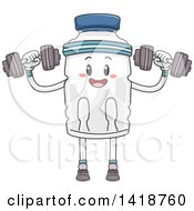 Clipart Of A Water Bottle Mascot Working Out With Dumbbells Royalty Free Vector Illustration by BNP Design Studio